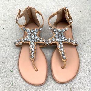 Torrid Jeweled Tan Sandals.